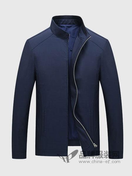 博尔顿时尚商务男装立领褂子中年男士薄款藏蓝色夹克