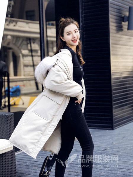 玛吉娜女装2018秋冬貉子毛领收腰显瘦加厚外套韩版潮