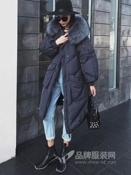 玛吉娜女装2018秋冬中长款羽绒服大毛领加厚羽绒服