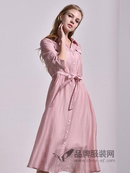主格女装2018春夏新款两件式修身显瘦系带韩版竖条纹连衣裙
