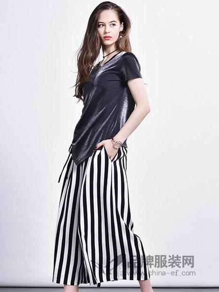 主格女装2018春夏不规则短袖T恤条纹阔腿裤时尚两件套