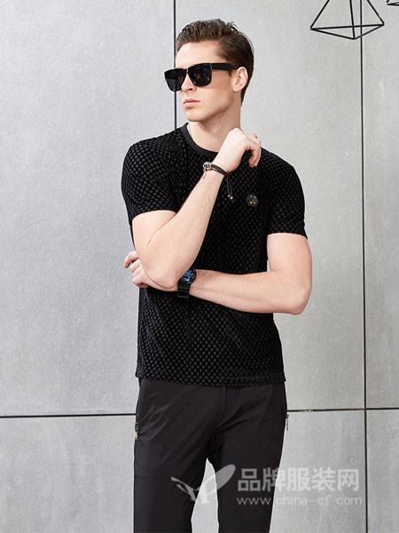 吉那诺男装2018夏季纯黑色圆领薄男土短袖t恤2018新款男士潮流