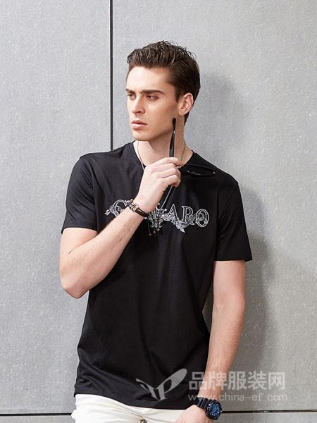 吉那诺男装2018夏季青年圆领男士短袖t恤潮流个性