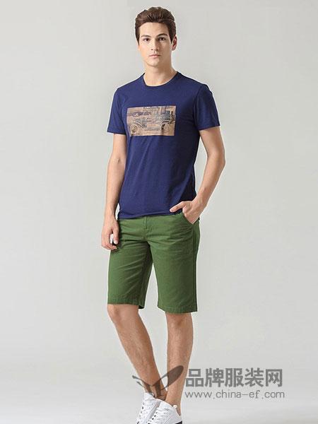 Ford福特男装2018春夏印花短袖T恤潮圆领体恤宽松