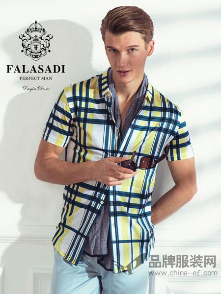 法拉萨狄男装2018夏季桑蚕丝商务休闲条纹修身薄款短袖衬衫