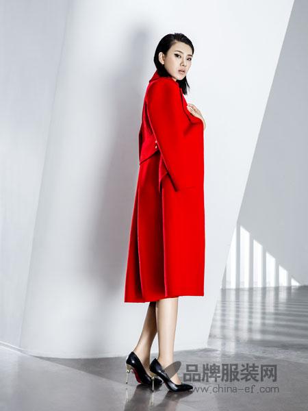 ECA女装2018秋冬红西装领长袖双面呢简约纯羊毛毛呢大衣