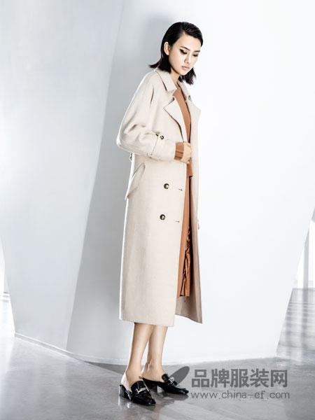 ECA女装2018秋冬 中长款双排扣纯羊毛毛呢外套