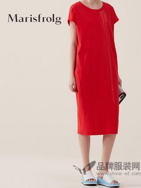 玛丝菲尔女装时尚圆领纯棉连衣裙2018夏新款