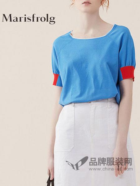 玛丝菲尔女装简约时尚撞色针织衫2018夏新款