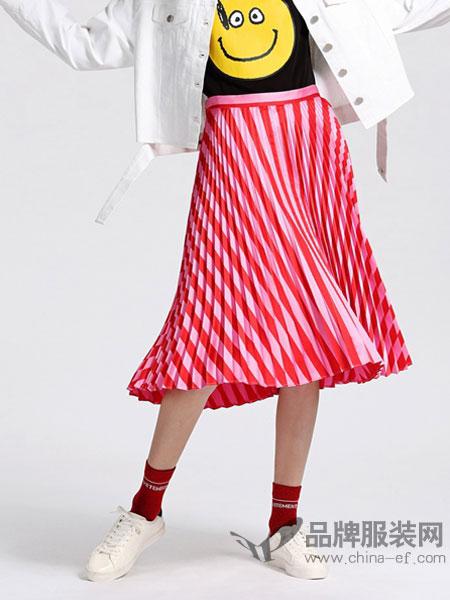 欧时力女装2018春夏波普条纹高腰百褶裙半身裙