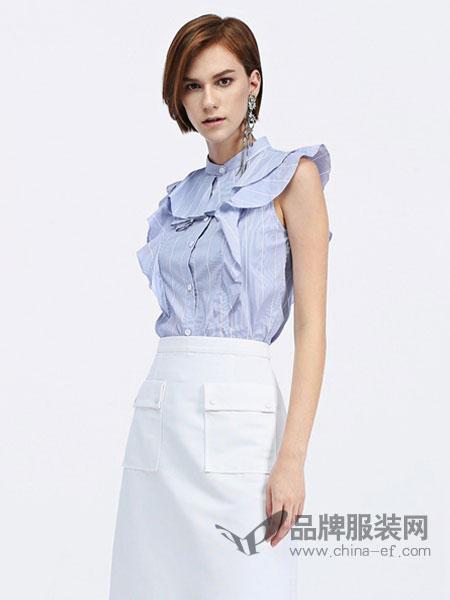 欧时力女装2018春夏清新荷叶拼接条纹无袖衬衫