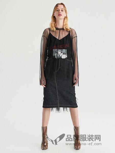 JORYA女装2018秋季V领吊带网纱两件套