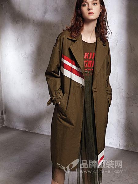 欧娅铂女装2018秋冬条纹印花军绿色风衣女中长款时尚外套宽松潮