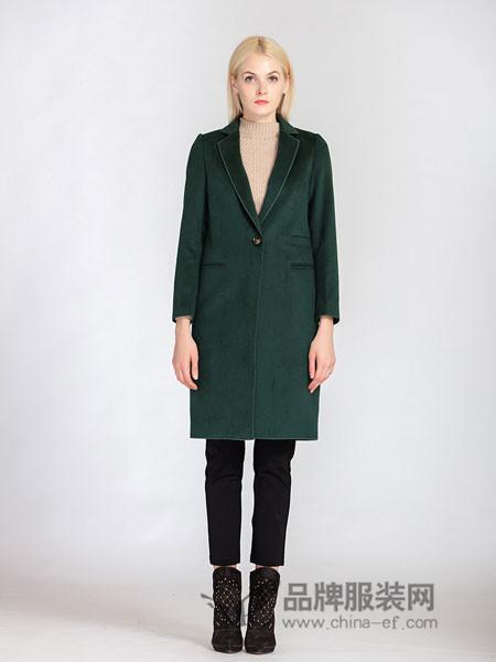 梦燕女装2018冬季西装领呢外套中长款时尚简约气质大码妈妈装