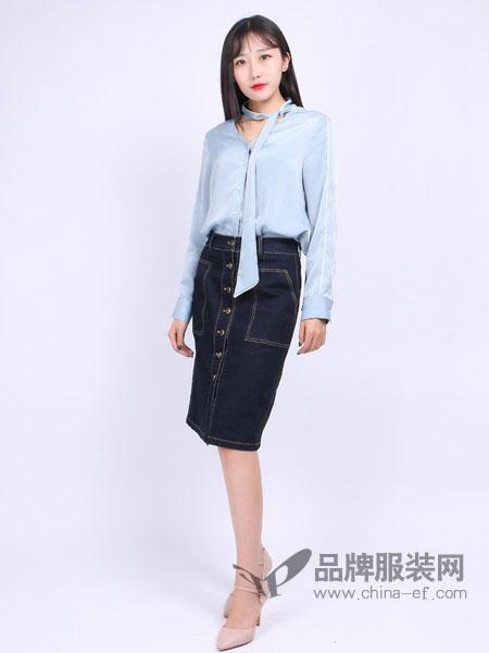 尕尕女装新款女装专柜气质条纹开叉前短后长廓形衬衫