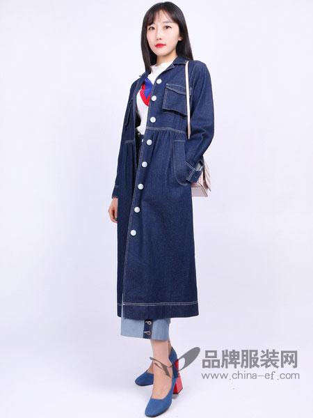 尕尕女装牛仔连衣裙韩范修身显瘦五分袖包臀裙中长款