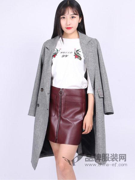 尕尕女装新品宽松西装领羊毛呢大衣中长款外套