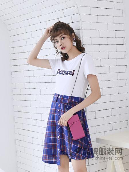 采辰女装2018夏新款字母拼接连衣裙时尚显瘦