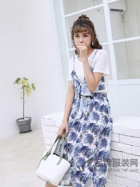 采辰女装2018夏海边度假套装短袖上衣高腰a字半身裙