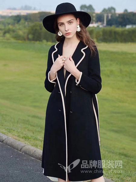 衣佰芬品牌女装女装2018秋冬气质西装领长袖风衣外套