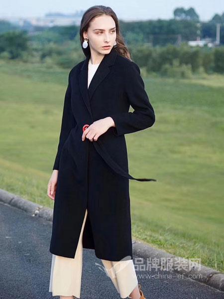 衣佰芬品牌女装女装2018秋冬新款宽松过膝无羊绒毛呢外套
