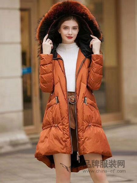 衣佰芬品牌女装女装2018秋冬韩版新款修身显瘦连帽百搭棉袄毛领棉服外套