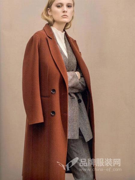 衣佰芬品牌女装女装2018秋冬时尚韩版纯色双面毛呢外套中长款腰带羊毛羊绒大衣女