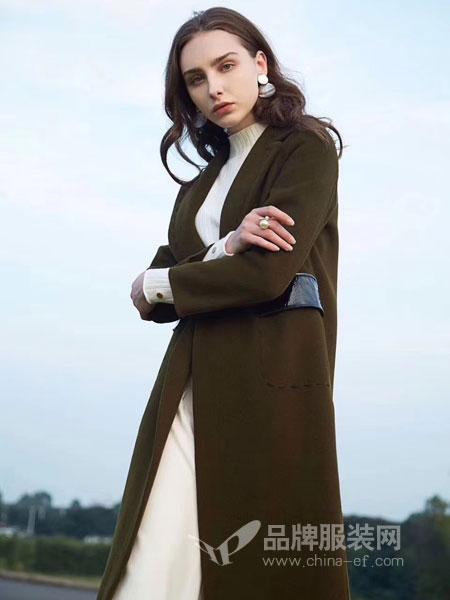 衣佰芬品牌女装女装2018秋冬新款宽松中长款针织开衫