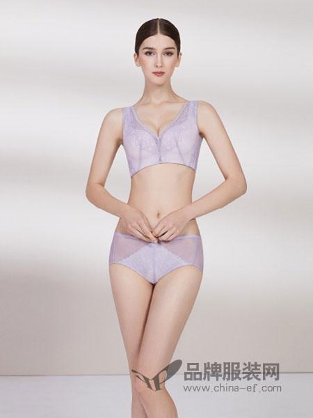 菲黛尔内衣2018春夏透气内衣紫色背心式调整型侧收副乳文胸