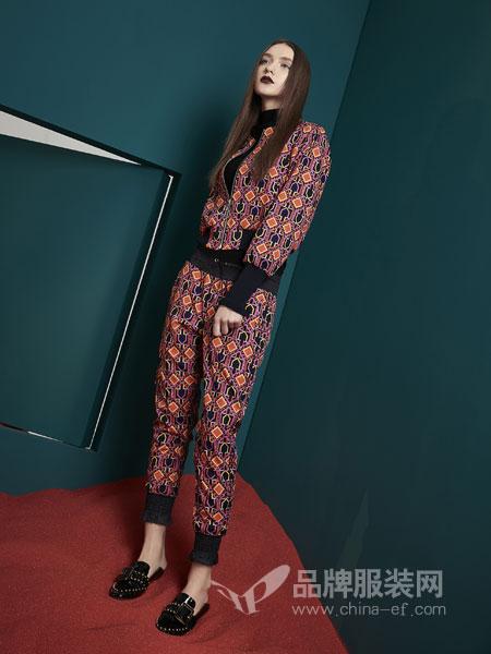 水淼SHUIMIAO女装2018秋季拼水溶蕾丝V领背心+阔腿裤复古套装
