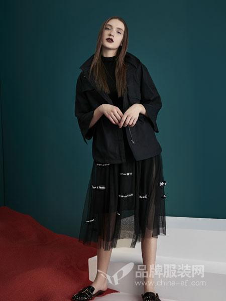 水淼SHUIMIAO女装2018秋季纯棉字母不规则拉链风衣外套
