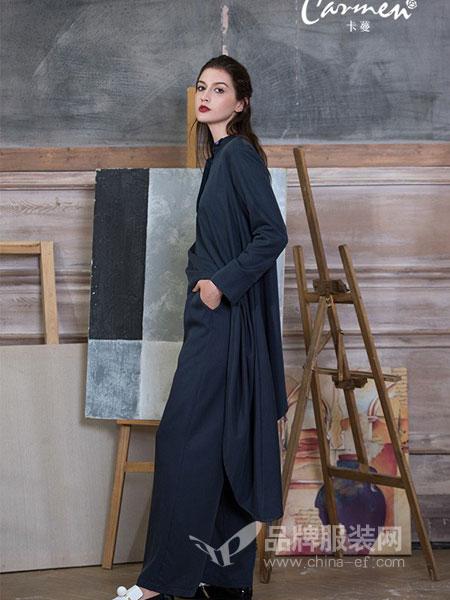 卡蔓女装2018秋冬柔软清凉舒适折缝叠襟连衣裙