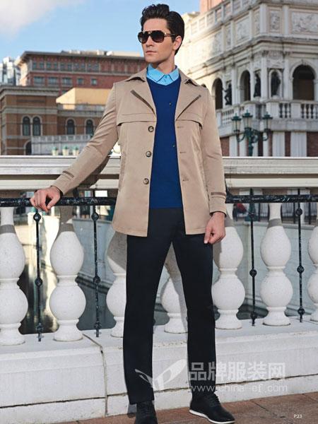 卡度尼男装2018秋季新款立领风衣男英伦薄款商务休闲中长款