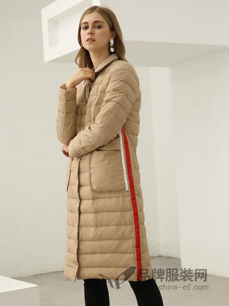 欧米�q女装2018秋冬休闲彩条织带立领修身减龄轻薄款羽绒服外套