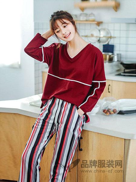 新1系内衣2018春夏长袖睡衣时尚条纹家居服韩版可外穿套装