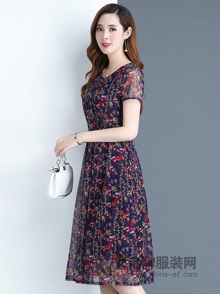 安纳苏丝女装2018春夏韩版时尚气质优雅中长款高腰碎花裙