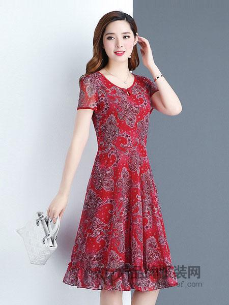 安纳苏丝女装2018春夏韩版修身收腰中长款短袖