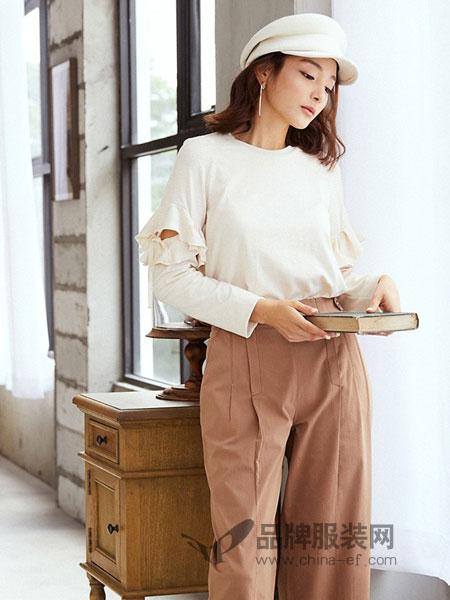 奥蔻女装2018秋季新款韩版修身休闲镂空系带时尚长袖T恤上衣