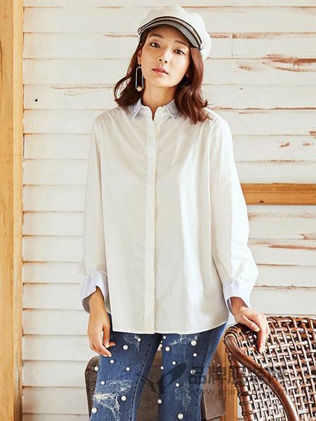 奥蔻女装2018秋季新款韩版宽松白色棉休闲时尚长袖衬衫上衣