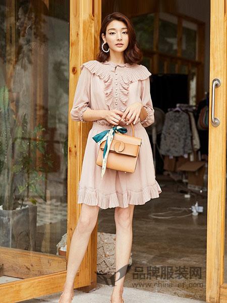 奥蔻女装2018秋季新款纯色气质修身显瘦雪纺七分荷叶边连衣裙