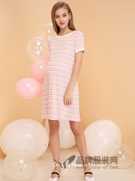 惠葆孕妇装2018春夏弹力条纹短袖时尚孕妇裙大码中长款孕妇连衣裙