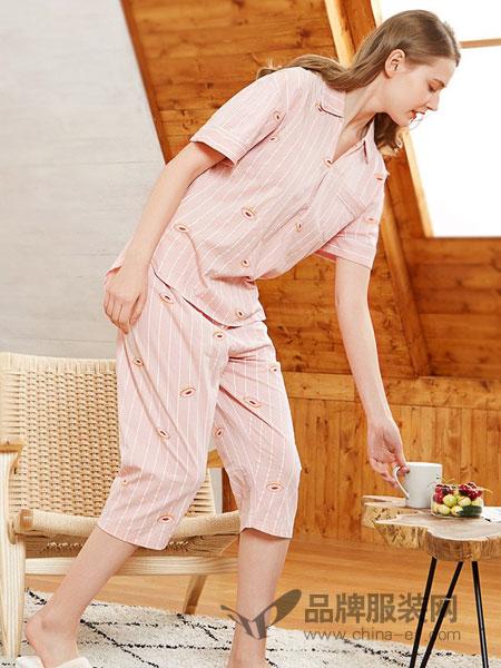 爱帝内衣2018春夏韩版短袖开衫两件套休闲新款冰丝可外穿薄款家居服简