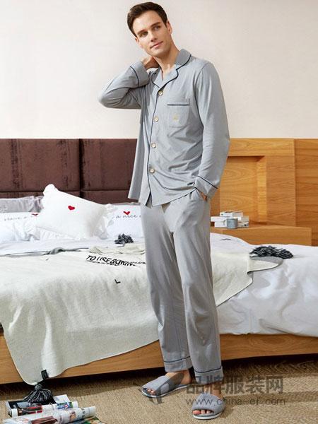 爱帝内衣2018春夏浅灰色长袖衣裤两件套舒适休闲家居服