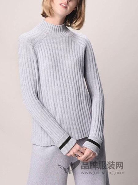 绒暖家家羽绒服2018秋冬新款半高领双层袖口拼色针织衫羊绒羊毛衫
