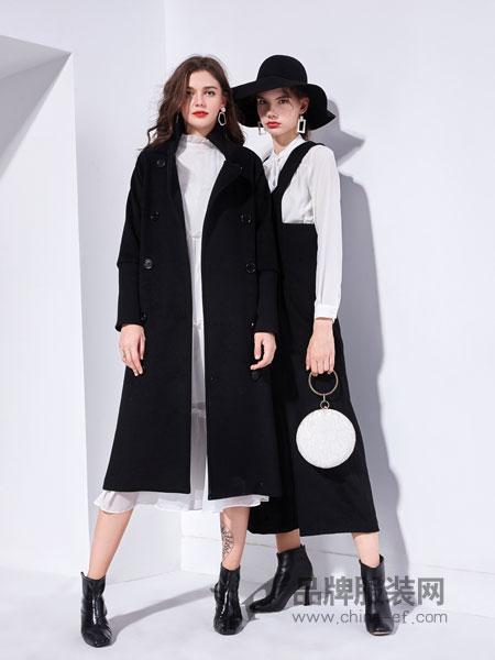 艾丽哲女装2018秋季纯色英伦休闲风衣长袖双排扣时尚外套大衣