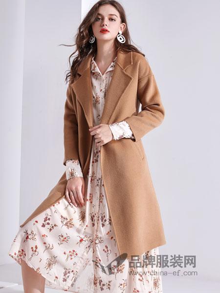 艾丽哲女装2018秋季毛呢外套羊绒大衣中长款韩版修身