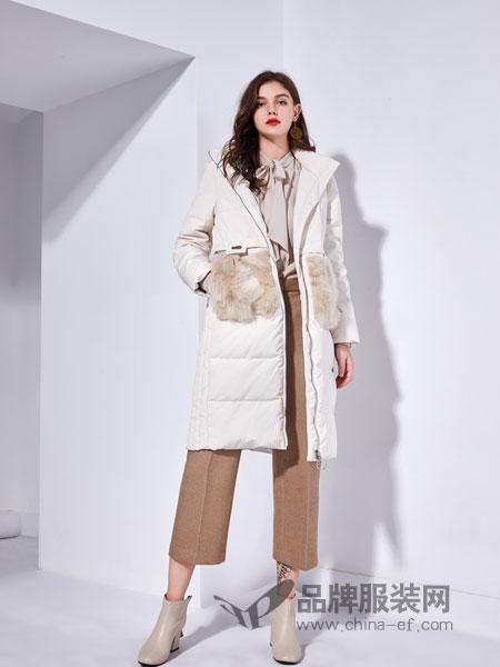 艾丽哲女装2018秋季新品连帽大毛领加厚羽绒服长款显瘦外套