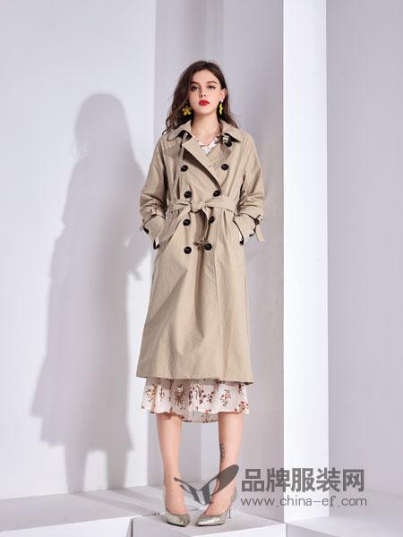 艾丽哲女装2018秋季过膝长款韩版时尚百搭宽松休闲外套