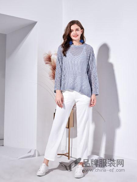 艾丽哲女装2018秋季圆领针织衫韩版宽松显瘦套头休闲短款时尚毛衣