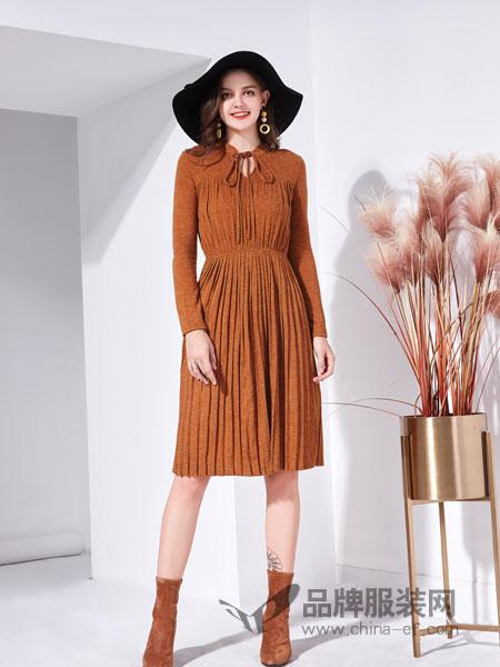 艾丽哲女装2018秋季中长款长袖系带领松紧腰蕾丝百褶裙